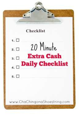 Minute Extra Cash Daily Checklist  Daily Checklist Earn Extra
