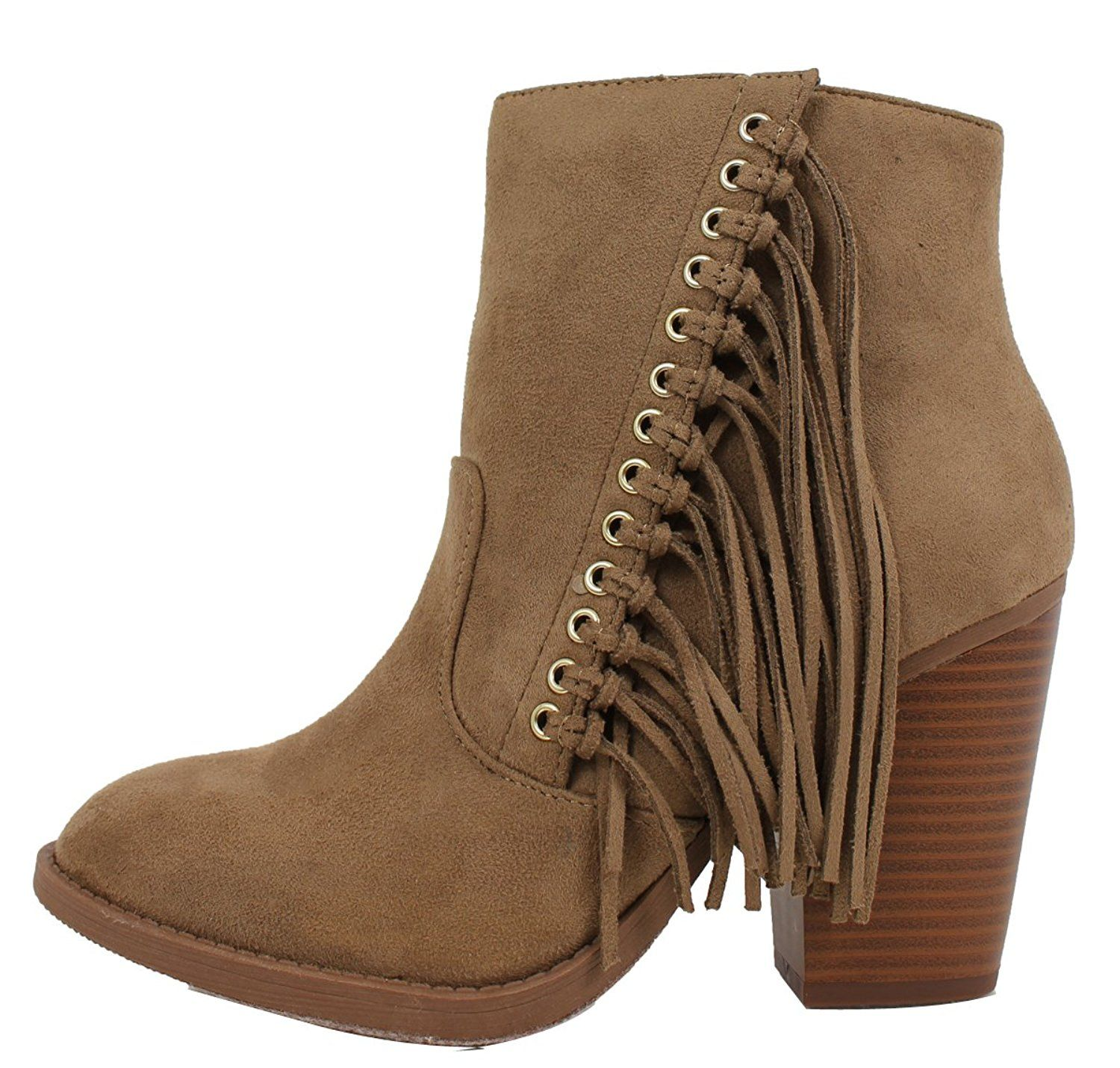 Women's Dimple Faux Suede Fringe Cowboy Stacked Heel Ankle Boot