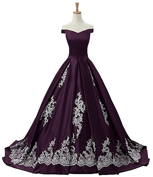 Sunvary Women's Evening Prom Dress Ball Gown Off-The-Shoulder Applique purple dress