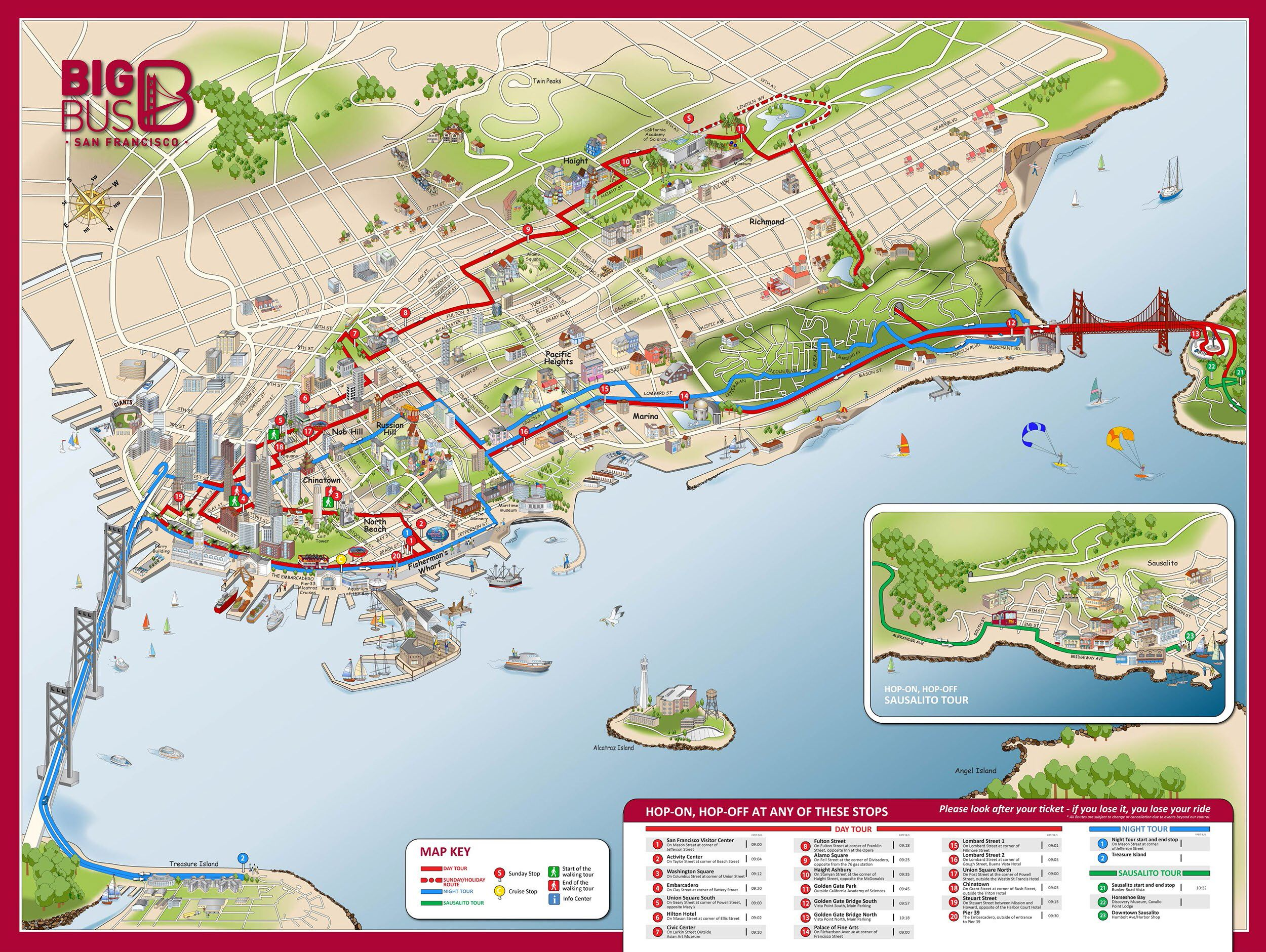 Image From HttpwwwmapwestcomimagessfopentopBigBusTours - Map san francisco bus routes