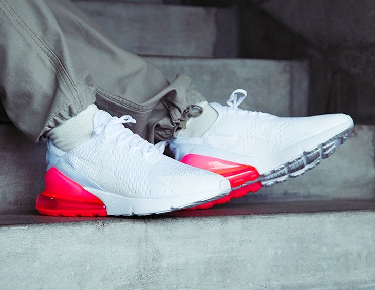 NIKE AIR MAX 270 WHITE HOT PUNCH RED TRAINERS AH8050 103  7ebba39ac