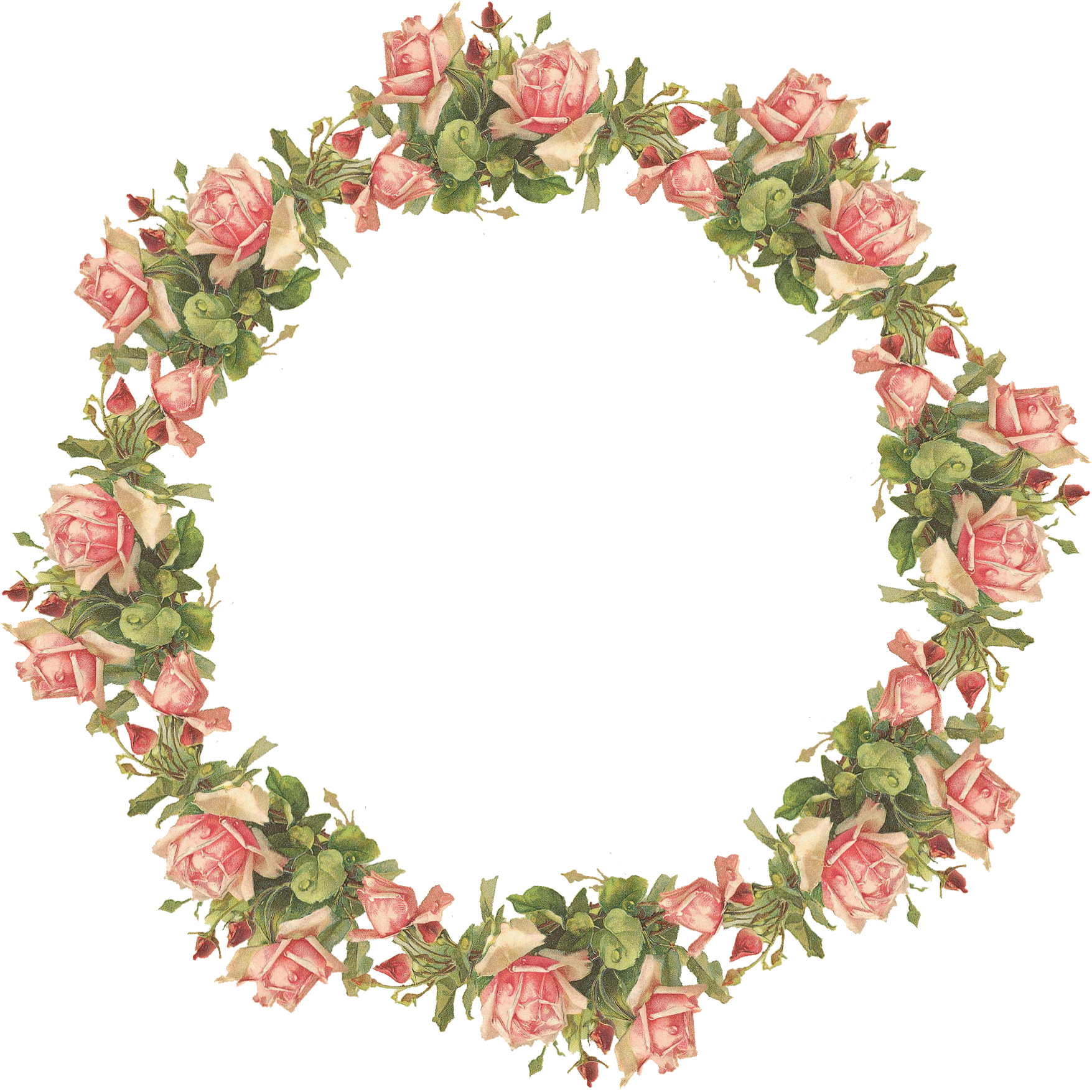Catherine Klein Pink Roses Digital Elements Vintage Flowers Flower Frame Wreath Clip Art