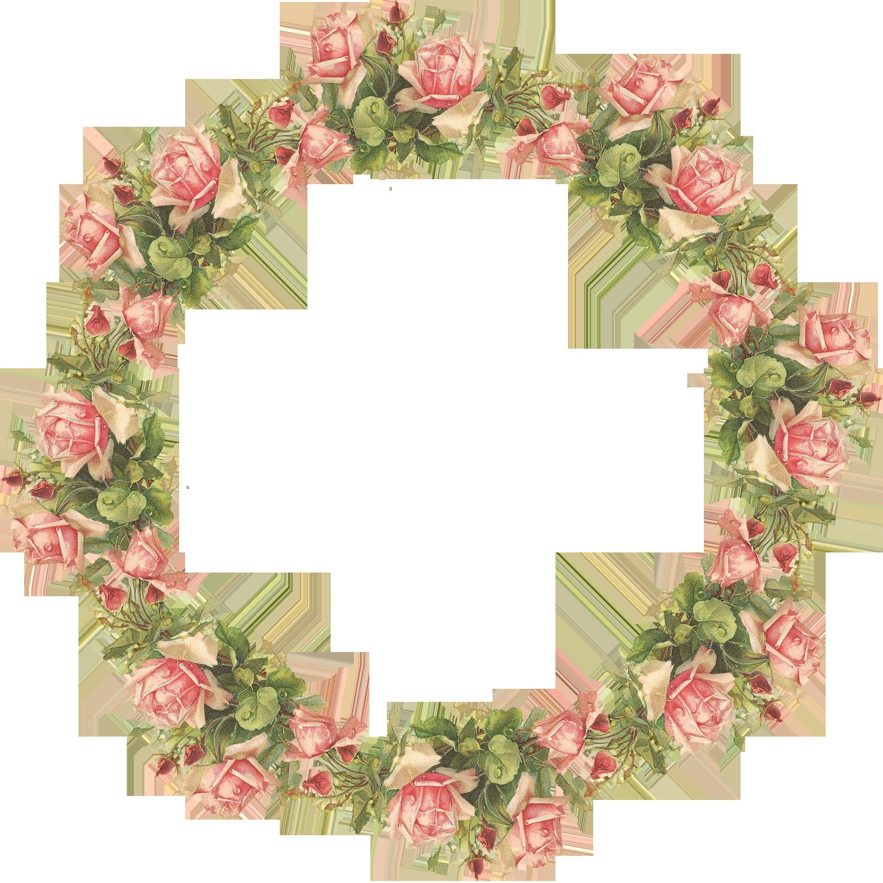 Catherine Klein Pink Roses Digital Elements Vintage Flowers Wreath Clip Art Flower Frame