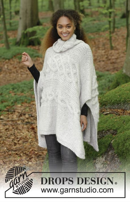 Snow Queen / DROPS 184-6 - Sideways knitted poncho with cables and ...