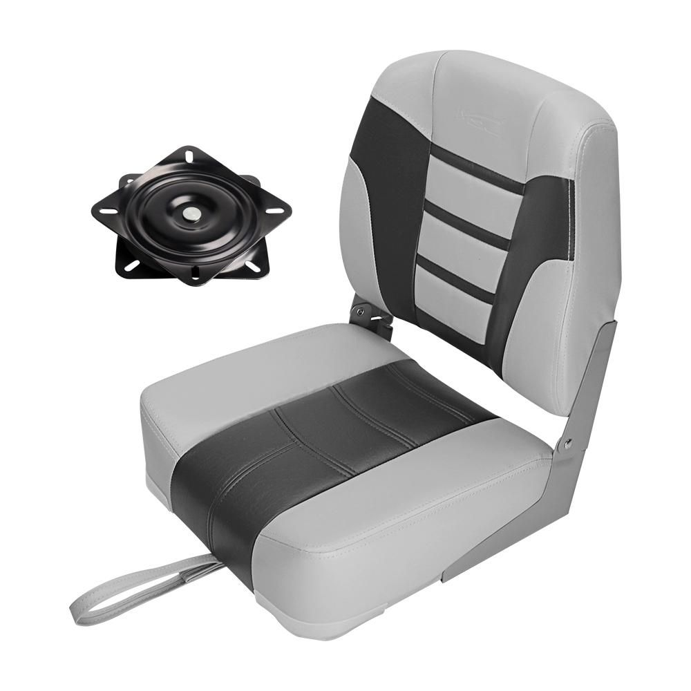 Msc Folding Boat Seat With Swivel Color Charcoal Blue Available