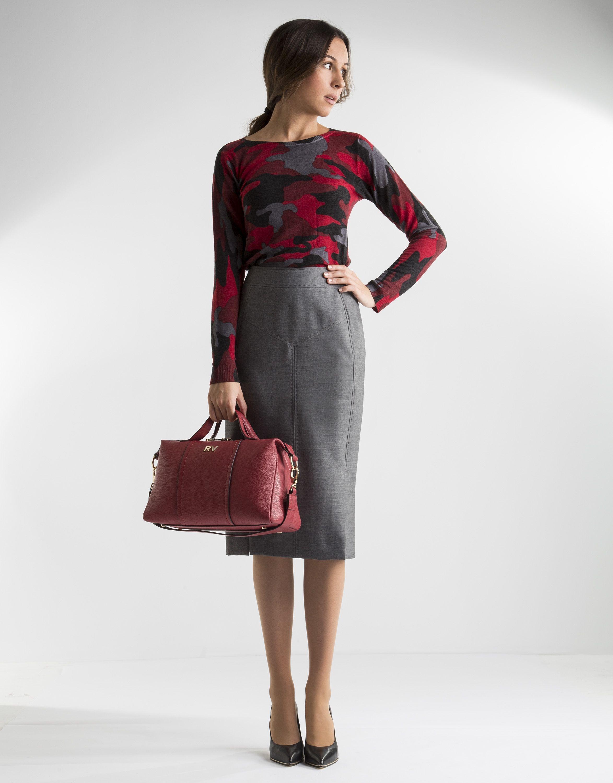 6b4cd2326c Falda recta gris - Faldas - Mujer