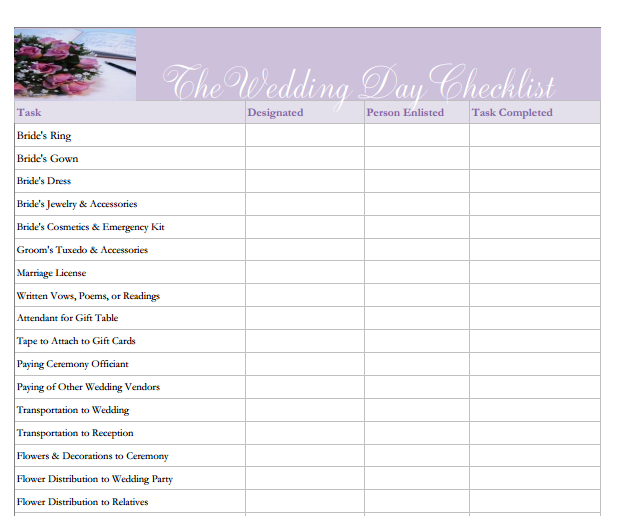 The Wedding Day Checklist--> What every bride MUST have! Download ...
