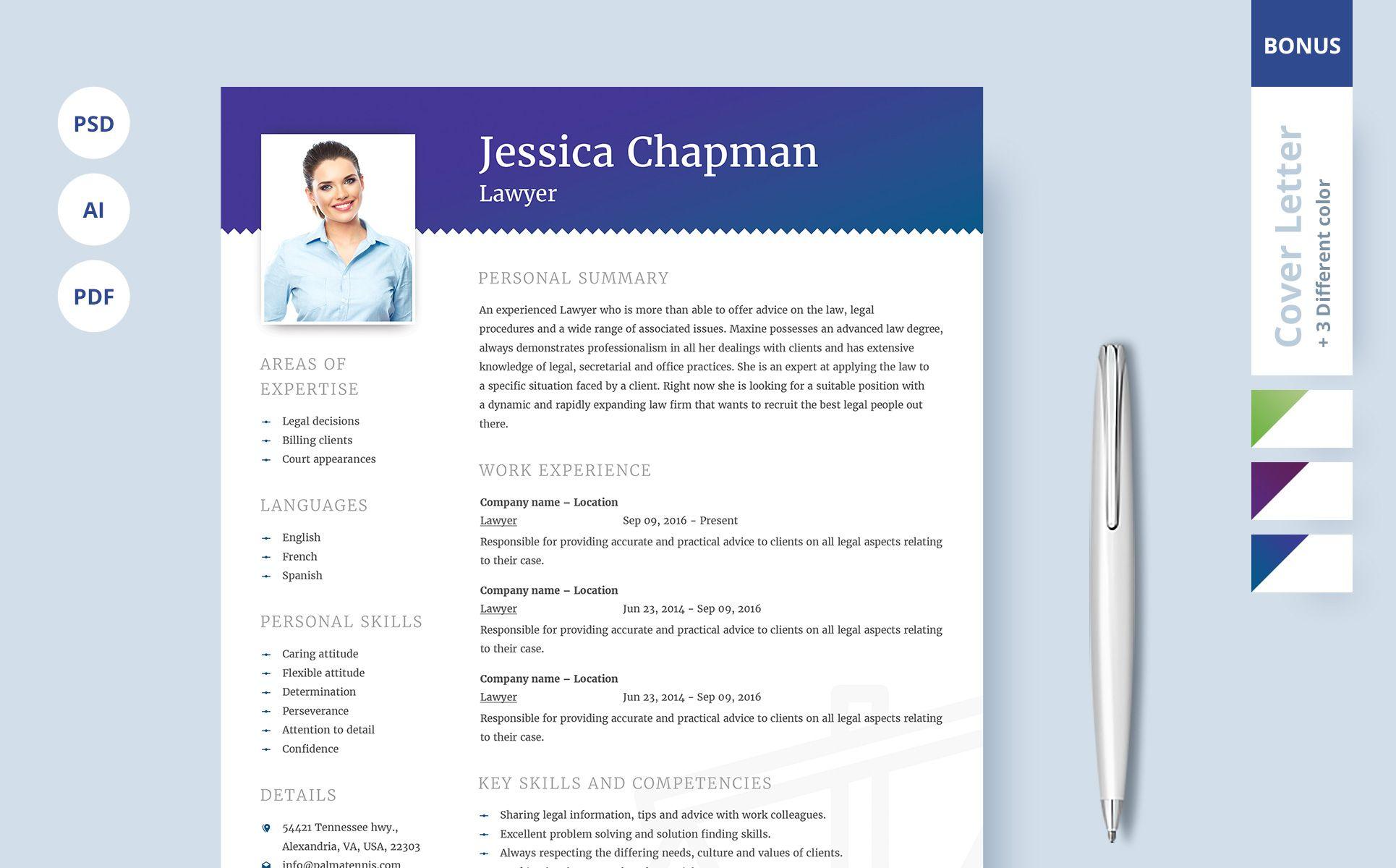 Jessica chapman lawyer cv resume template 64868 cv