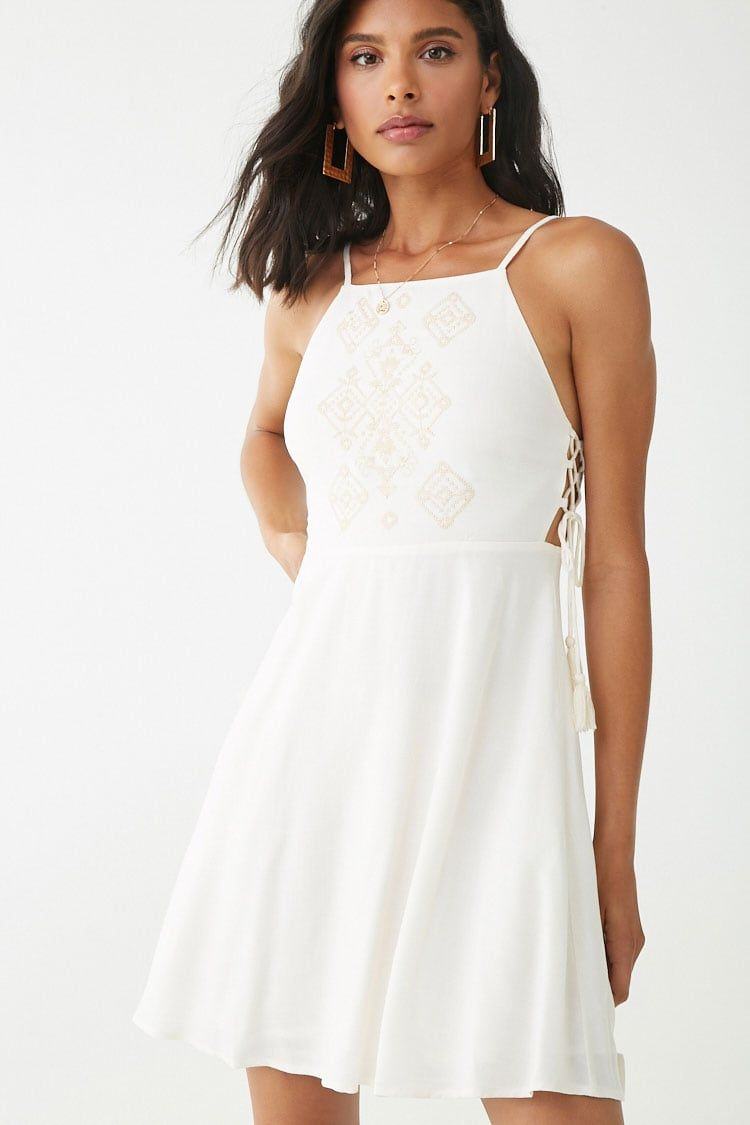 Embroidered Fit Flare Dress Forever 21 Fit Flare Dress Casual Dresses For Teens Flare Dress [ 1125 x 750 Pixel ]