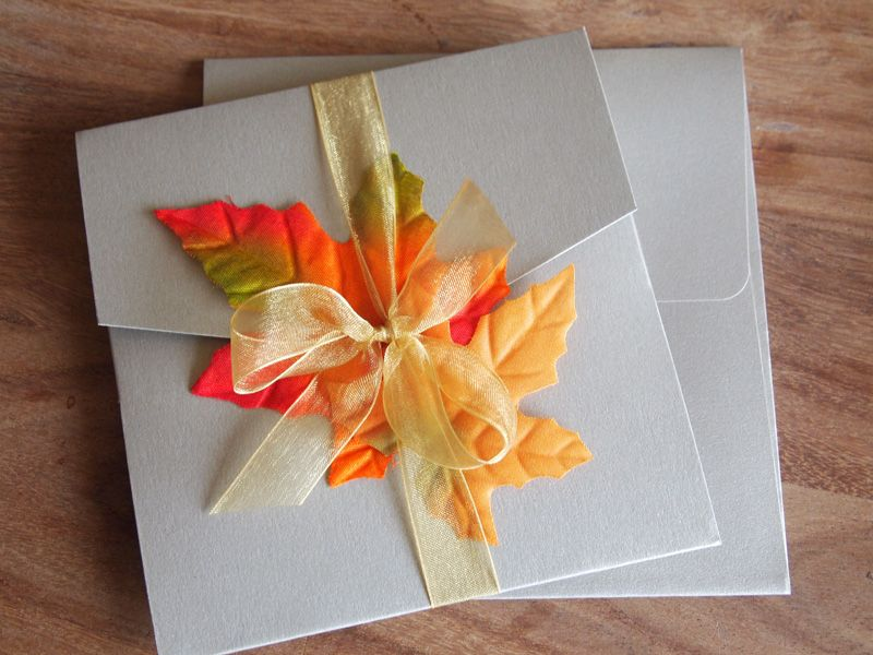 Autumn Wedding Invitation - Pocket finished with organza ribbon ...
