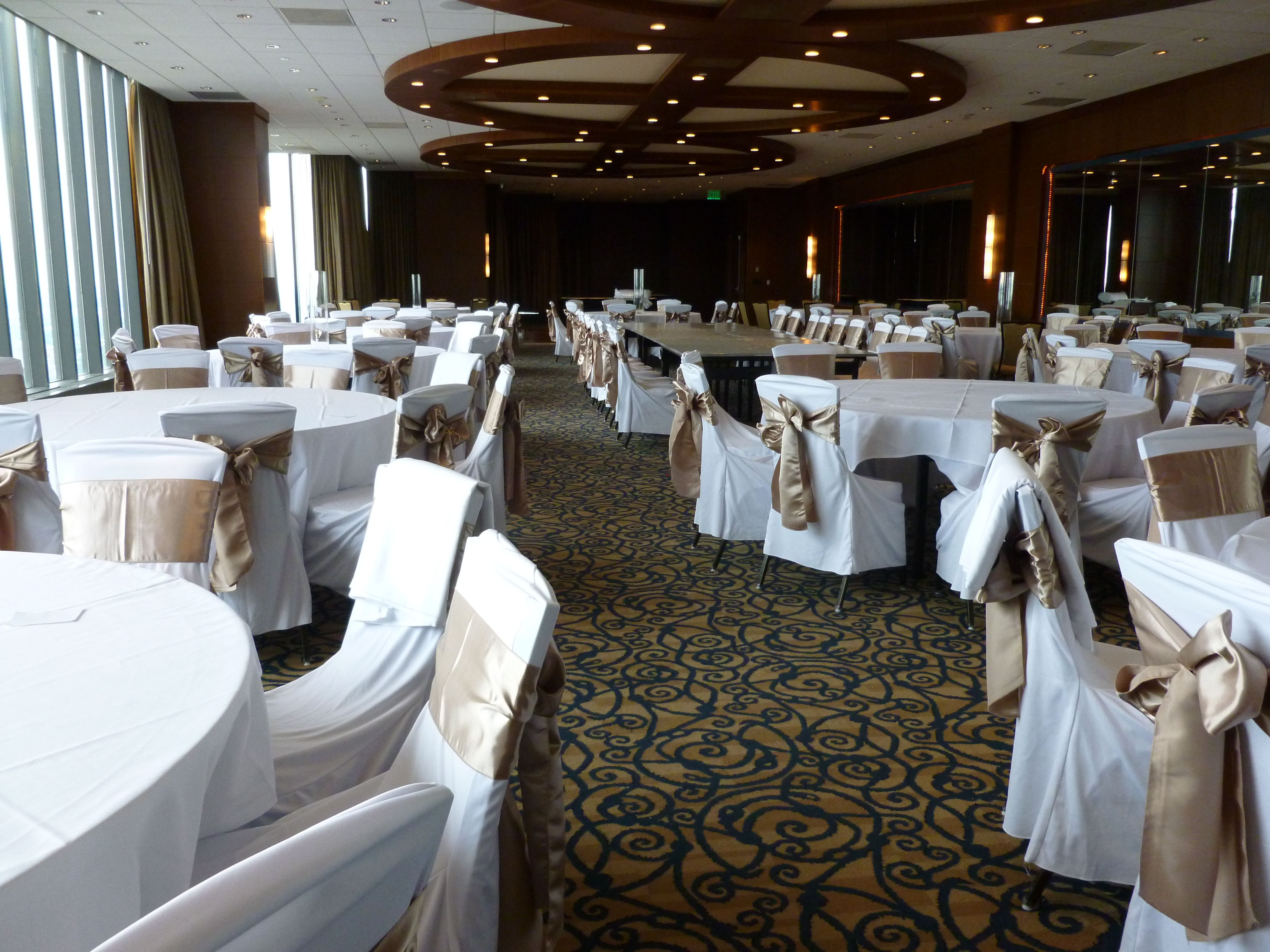 White Chair Covers With Taupe Satin Sashes Traditional Bow At