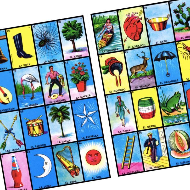 100 Loteria Cards 4x4 Game Boards Digital File Instant