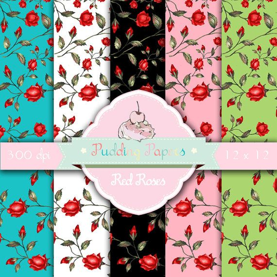 Red Roses - Instant Download - Digital Collage Sheet - Scrapbook Paper - Digital Paper - Decoupage Paper - Roses - Floral - Flowers