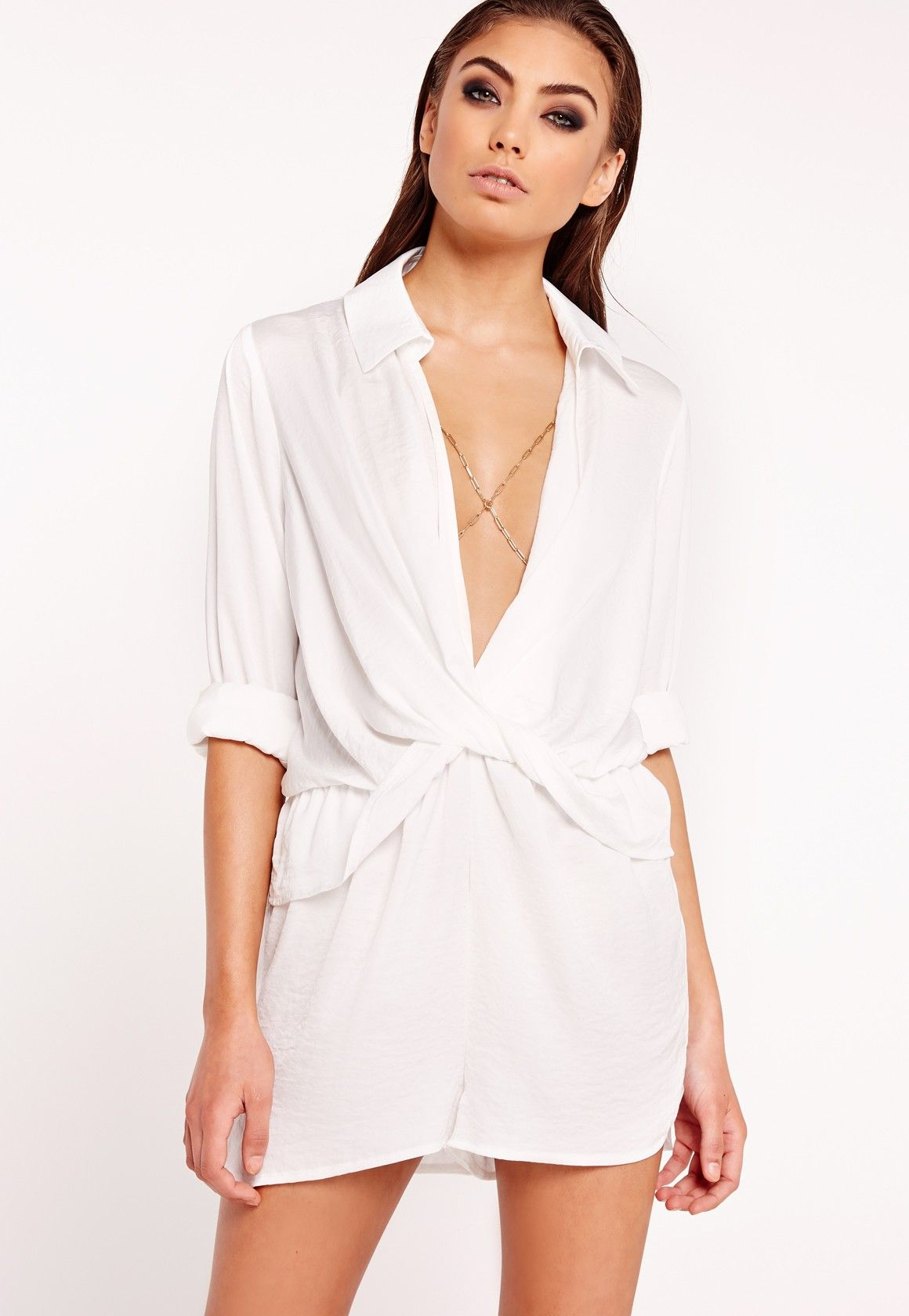 82093174b8 Missguided - Peace Love Satin Wrap Playsuit White