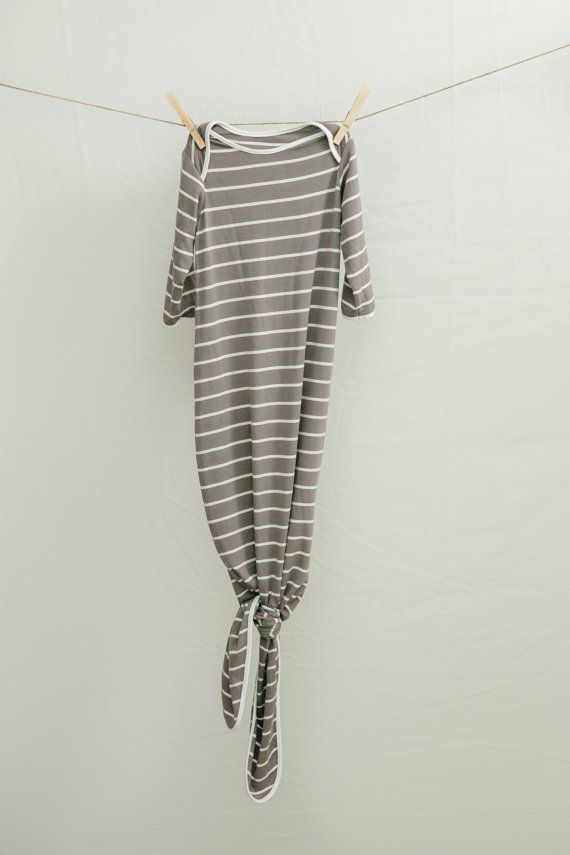 Taupe Stripe Bamboo Knotted Baby Gown 6-12 months | Infant Sleep ...