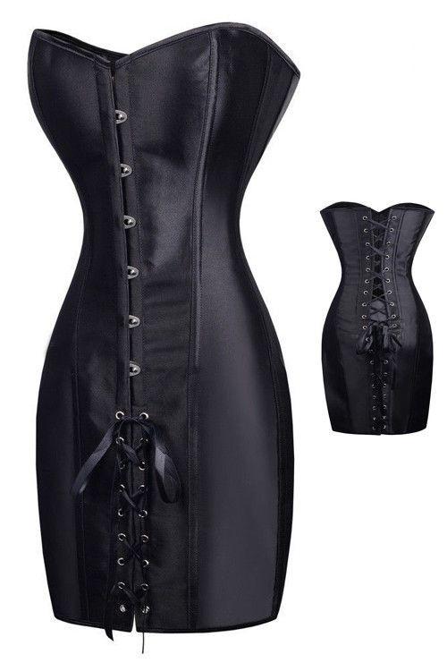 Black Elegant Ribbon Corset Dress Pinterest Leather Lingerie