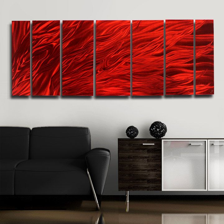 Painted Metal Abstract Wall Art / Large Red Multi Panel Sculpture ...