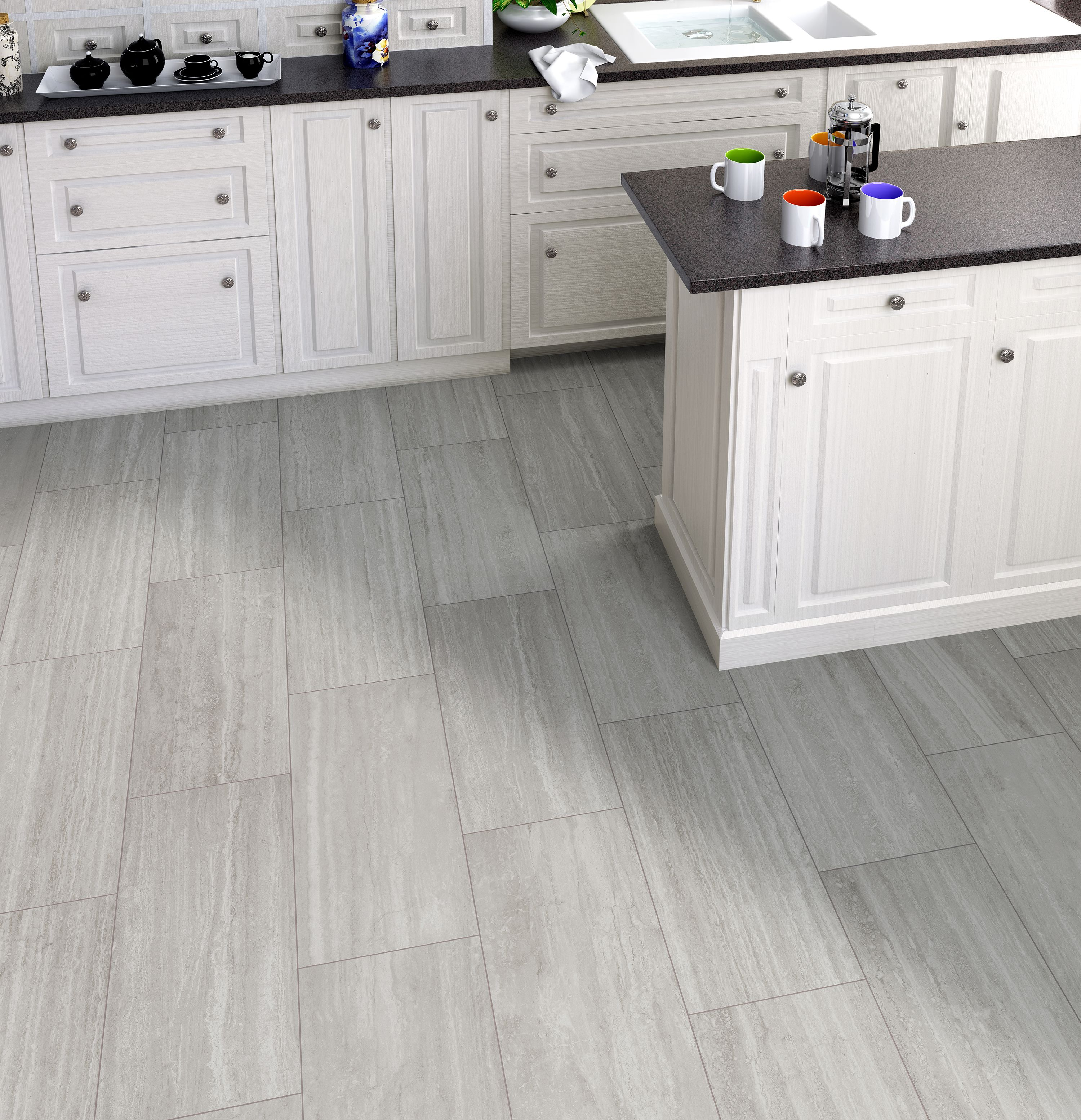 Travertine Floors In Kitchen Silver Gray Travertine Look Porcelain Tile It Matches A White