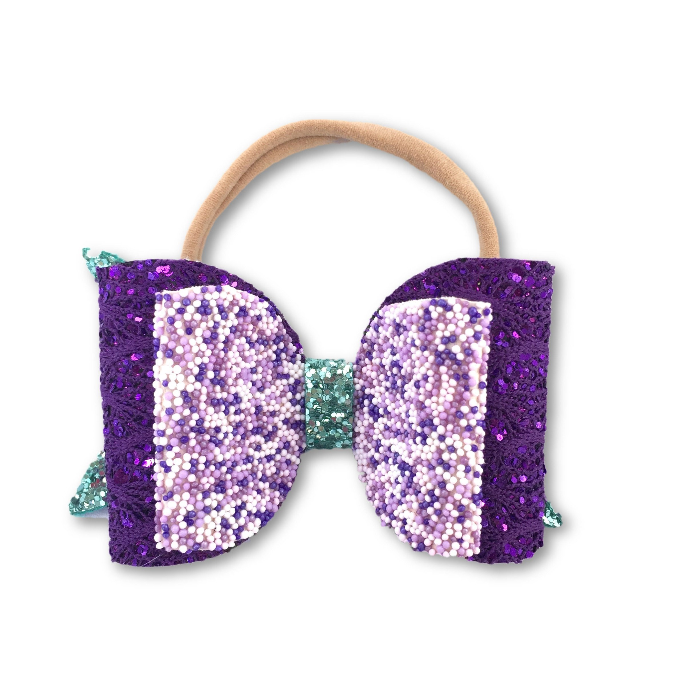 Purple Glitter Mermaid Bow Headband