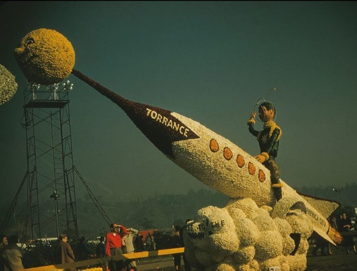 The City of Torrance's 'Rocketship to the Moon' Rose Parade float from 1958.