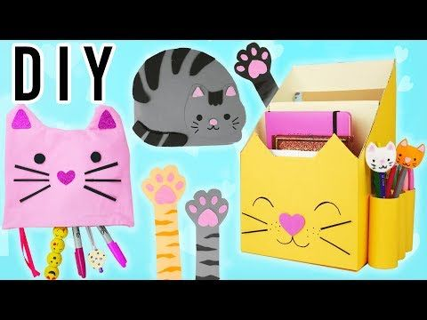chat kawaii back to school 5 idees de fournitures scolaires tuto diy youtube anniversair. Black Bedroom Furniture Sets. Home Design Ideas