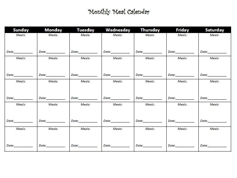 Printable meal planner to keep up with what you are eating - meal calendar