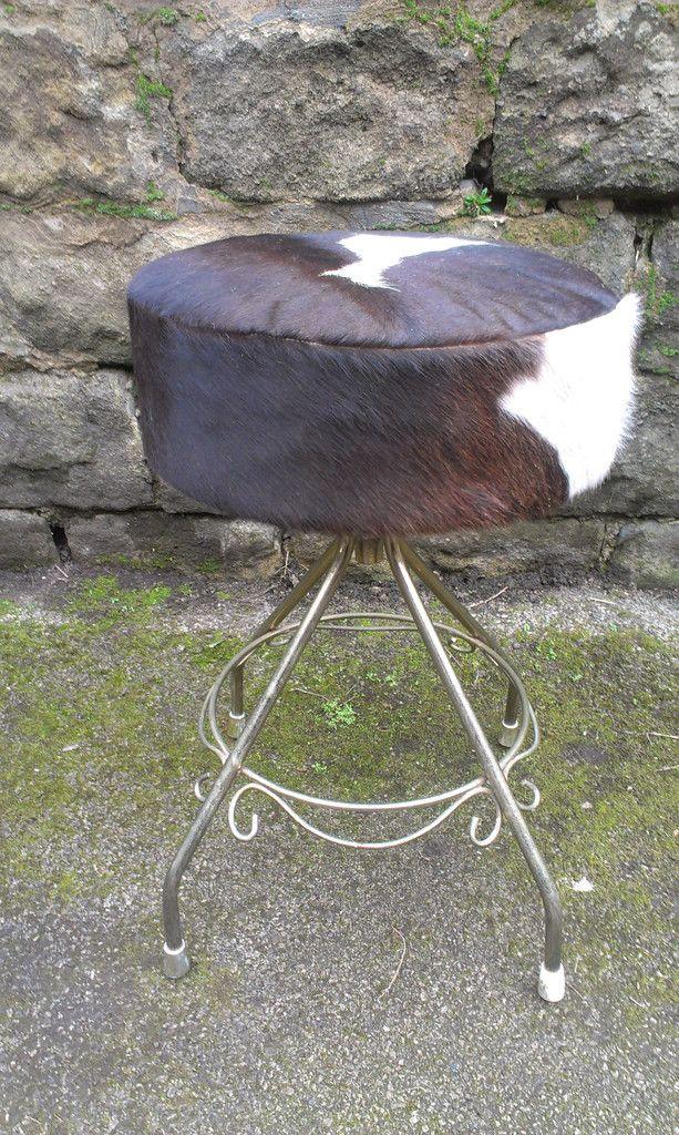 Vintage Dressing Table Stool Reupholstered With Cow Hide Vintage