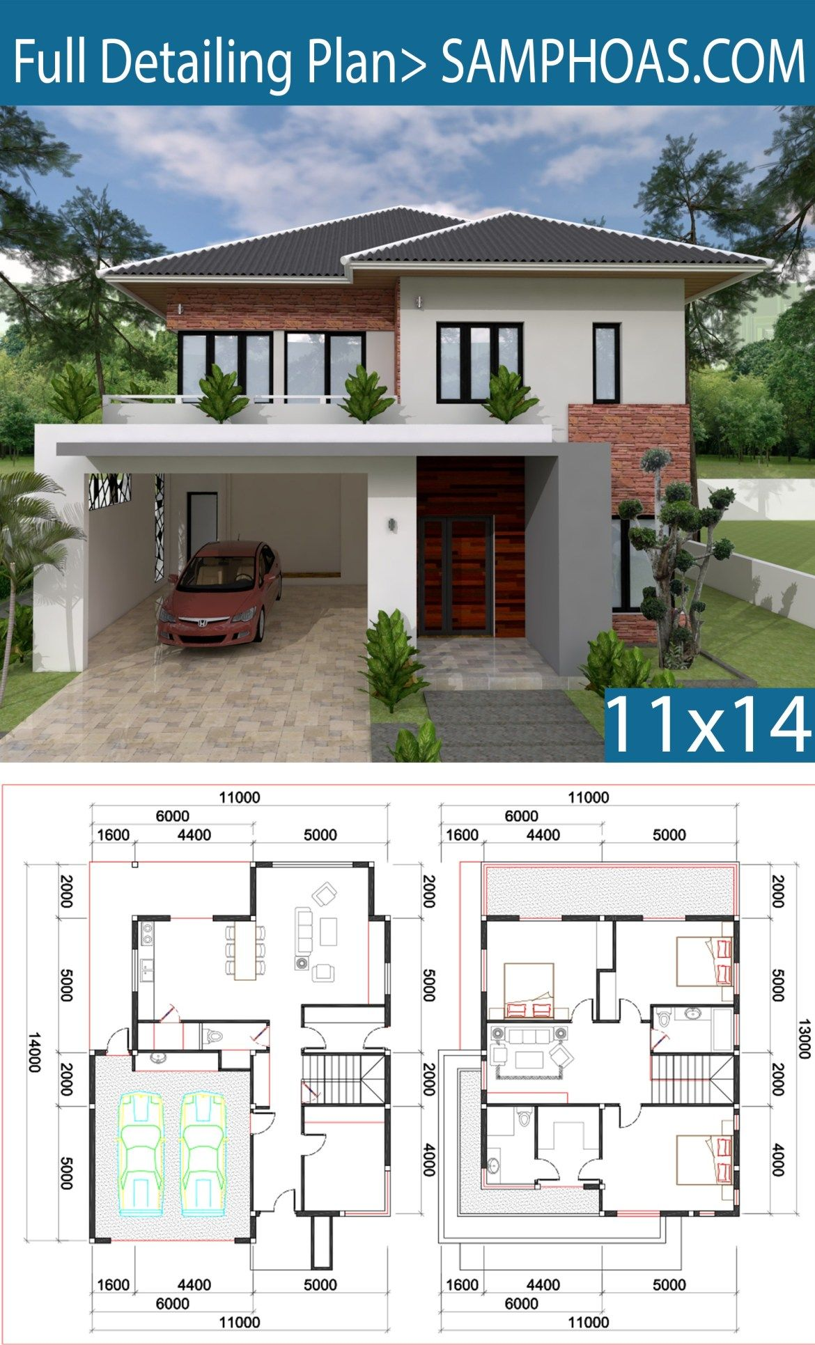 3 Bedroom Villa Design 11x13m Samphoas Plansearch Villa Design Architectural House Plans Model House Plan