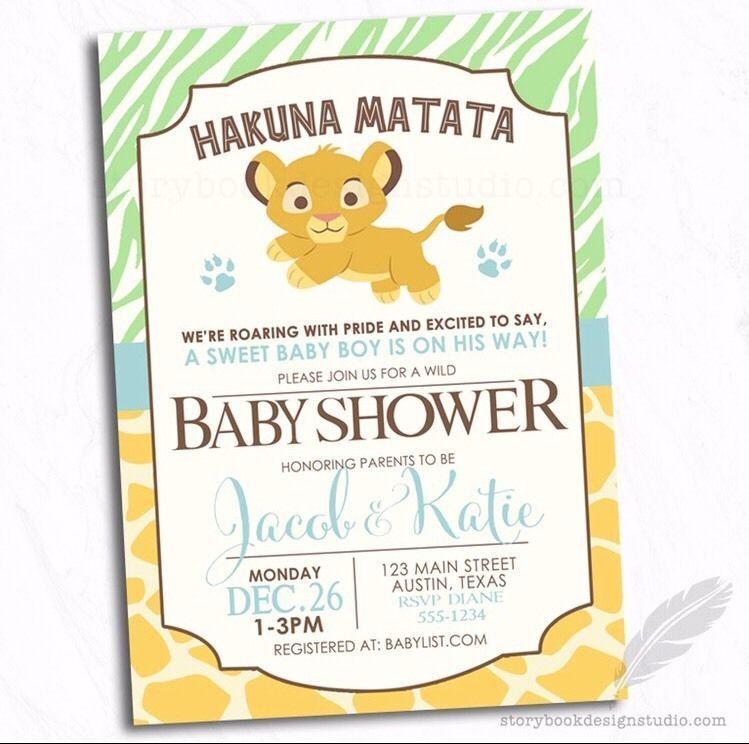 Lion King Simba Baby Shower Invitations / Safari Animals Jungle ...