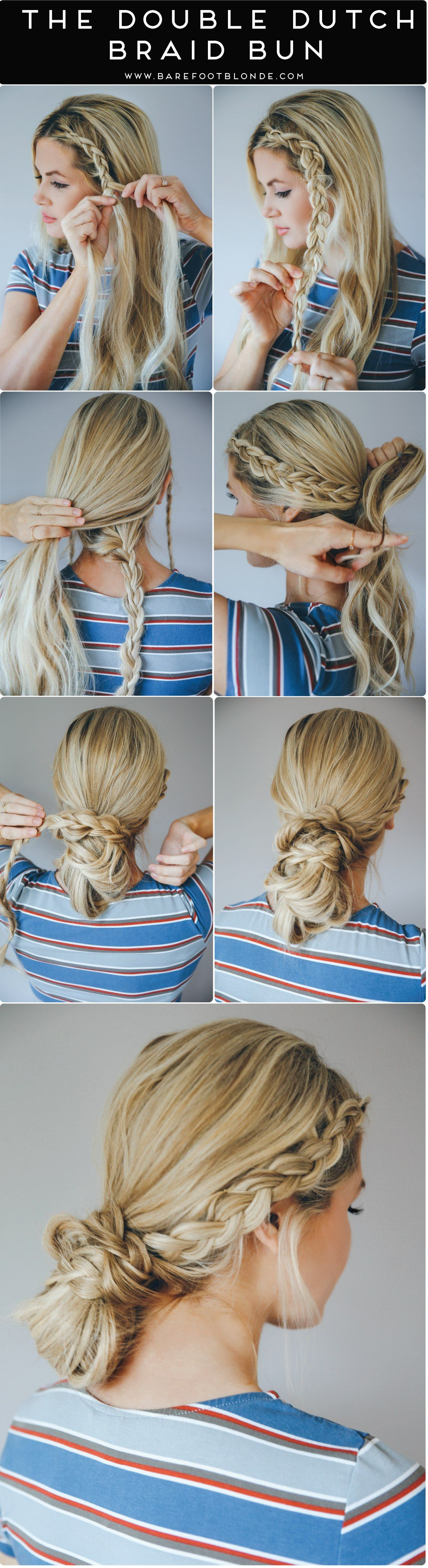 gorgeous beach hair ideas for summer dutch braid bun double