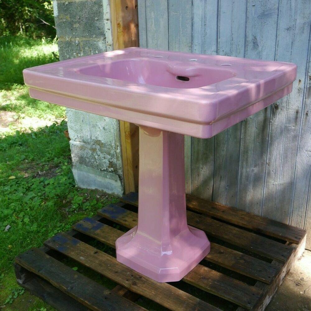 Antique Vintage American Standard Pelham Pedestal Sink Rose Du Barry Pink 1920 S American Americanstandard Porcelain Sink Clawfoot Tub Pedestal Sink