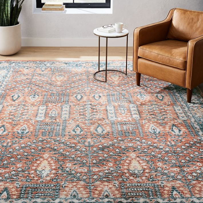 Distressed Nadine Made To Order Rug Midnight 5 X8 West Elm In 2020 Rugs On Carpet Rugs West Elm Rug