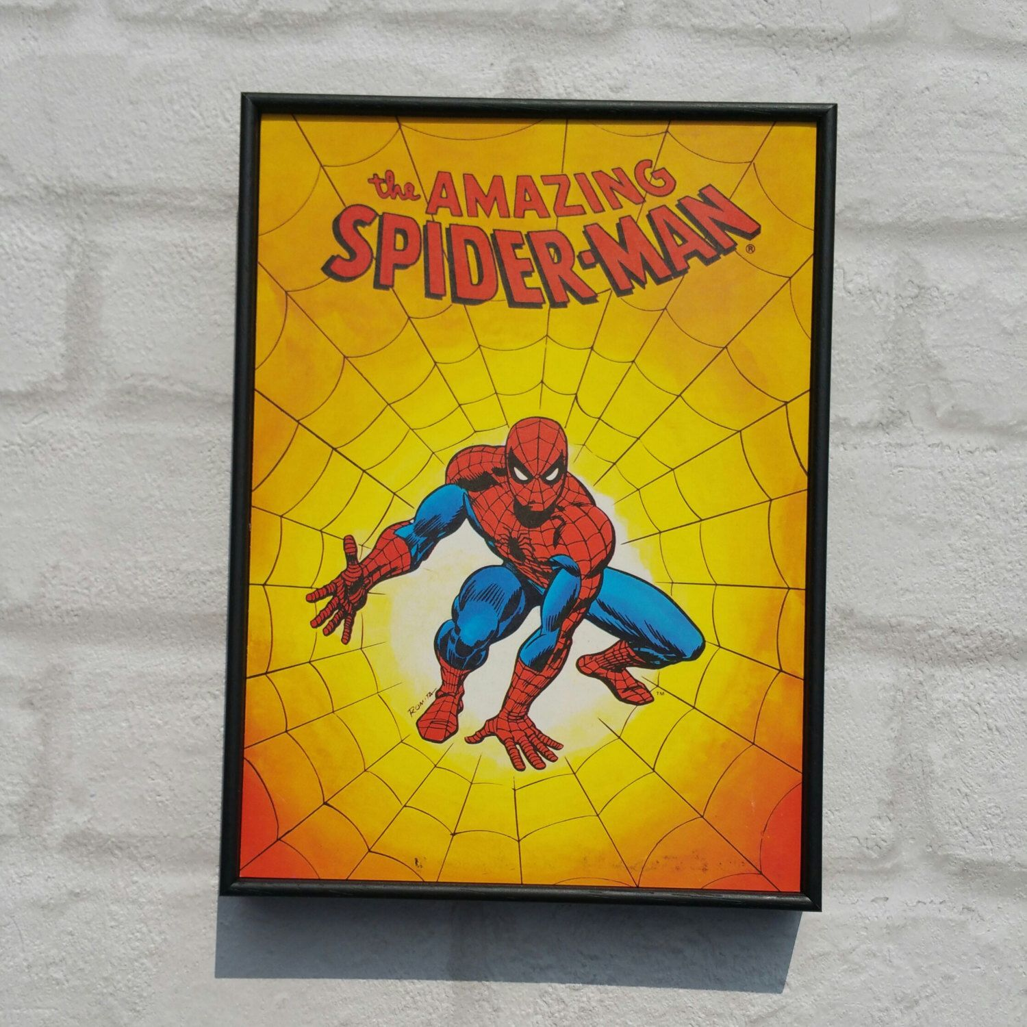 Spiderman Framed Print. Super Hero Wall Art. Vintage Style Comic ...