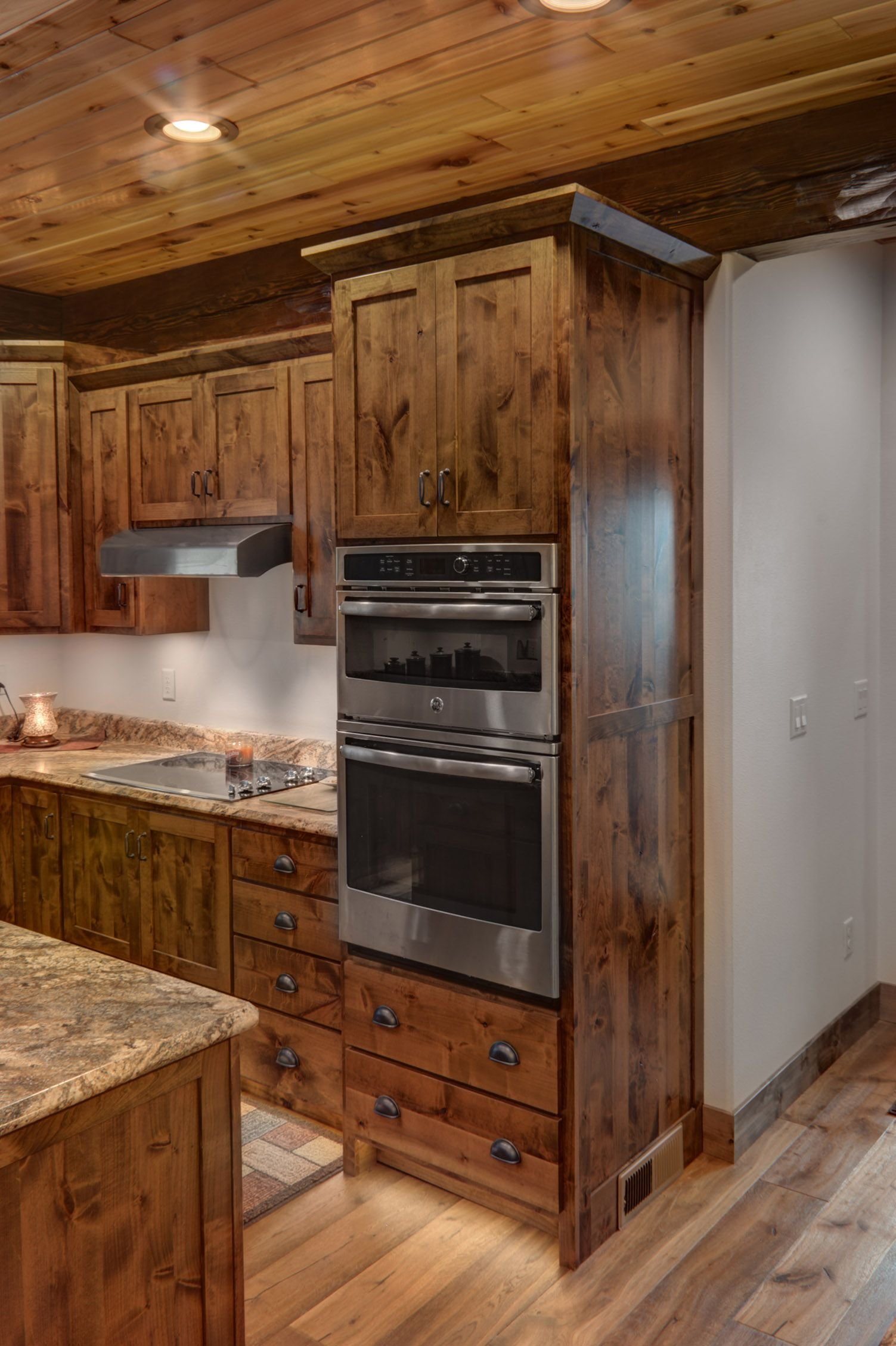 Rustic Alder Double Oven Cabinet | Rustic kitchen cabinets ...