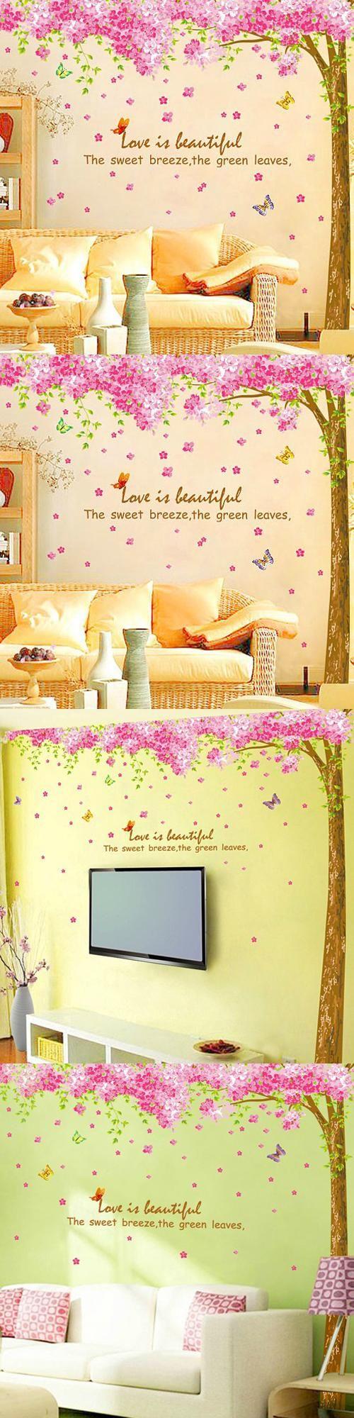 1 set 100*100 Inch Removable PVC Decals Romantic Sakura Flowers TV ...