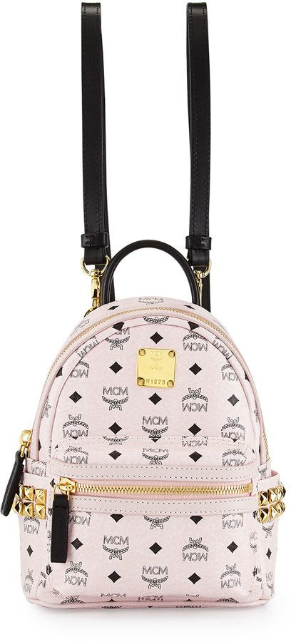 MCM Stark Visetos Mini Backpack, Chalk Pink | Mcm bag