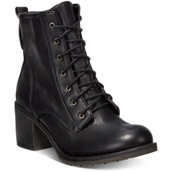 Bare Traps Deezie Block-Heel Booties ($79) ❤ liked on Polyvore featuring shoes, boots, ankle booties, black, combat boots, black lace-up boots, black army boots, army boots and combat booties
