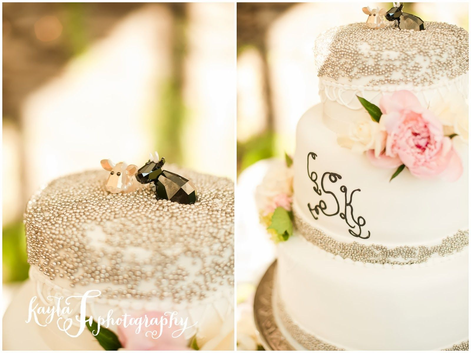 Beaded wedding cake with cow toppers. So cute! Kayla F Photography ...