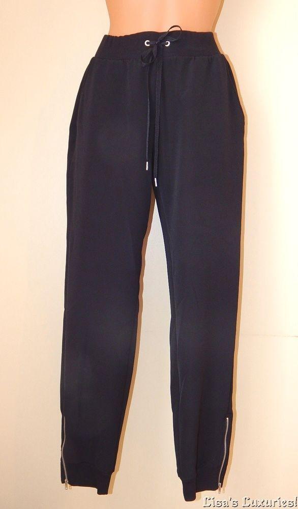 1b239294c7e7 NWT Juicy Couture Pants Women s M. Drawstring Waist Zipper Ankle Black   JuicyCouture  CasualPants