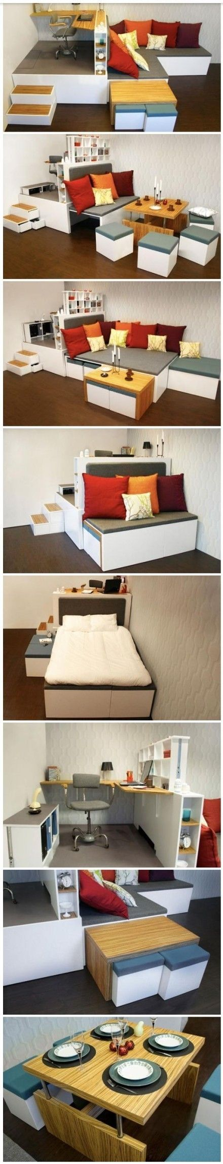 multifunctional furniture for small spaces. An All-in-one Set Up For Tiny Homes Or Houses. The Bed Is Hidden In Plan Sight, Dining Table + Storage Stools Tuck Away Beneath Office Platform. Multifunctional Furniture Small Spaces