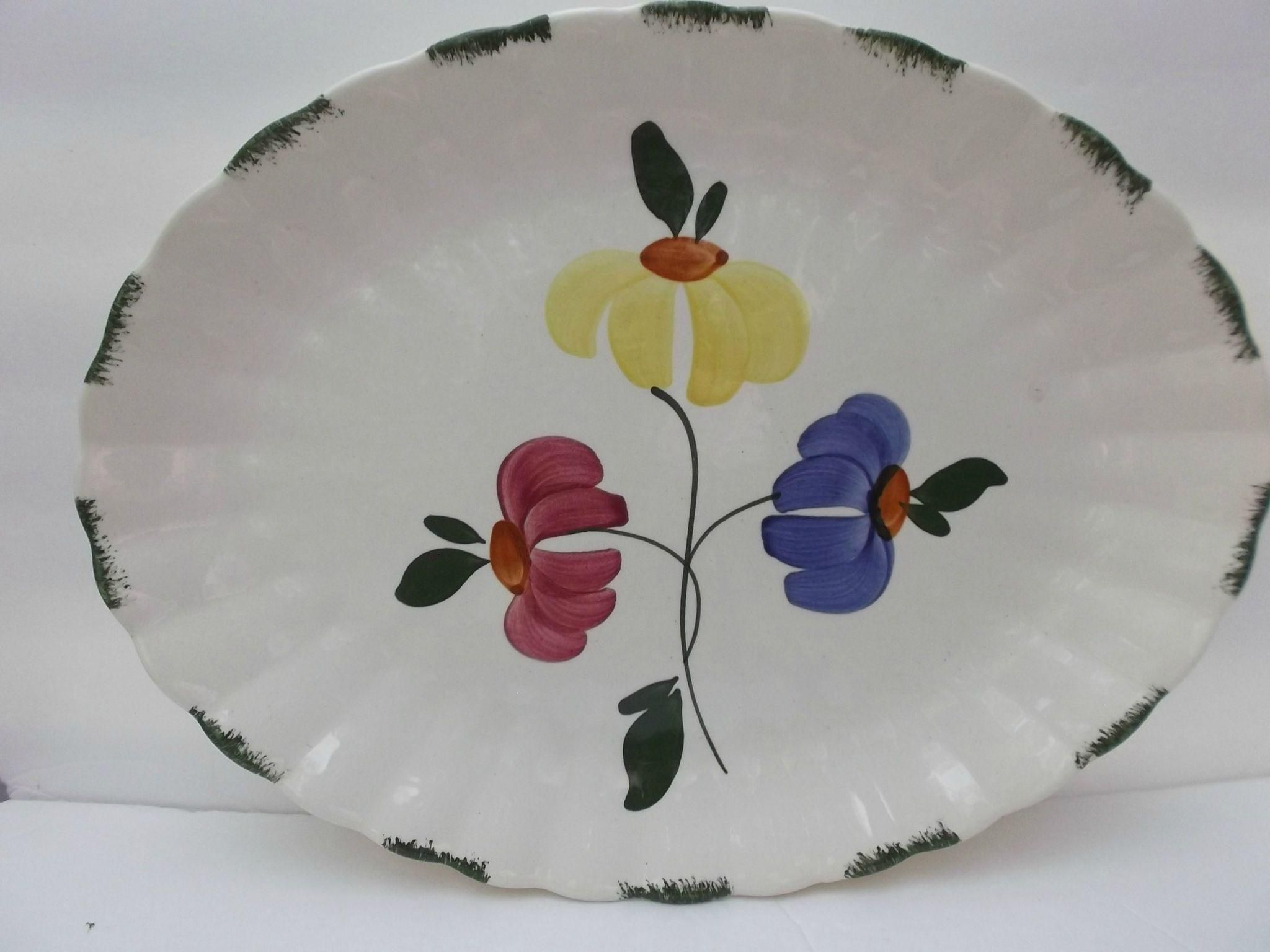 Blue Ridge Dinnerware Platter Painted Daisy Southern Potteries Blue Yellow Pink Green offered by rubylane shop Saltymaggieu0027s Treasures & Blue Ridge Dinnerware Platter Painted Daisy Southern Potteries Blue ...