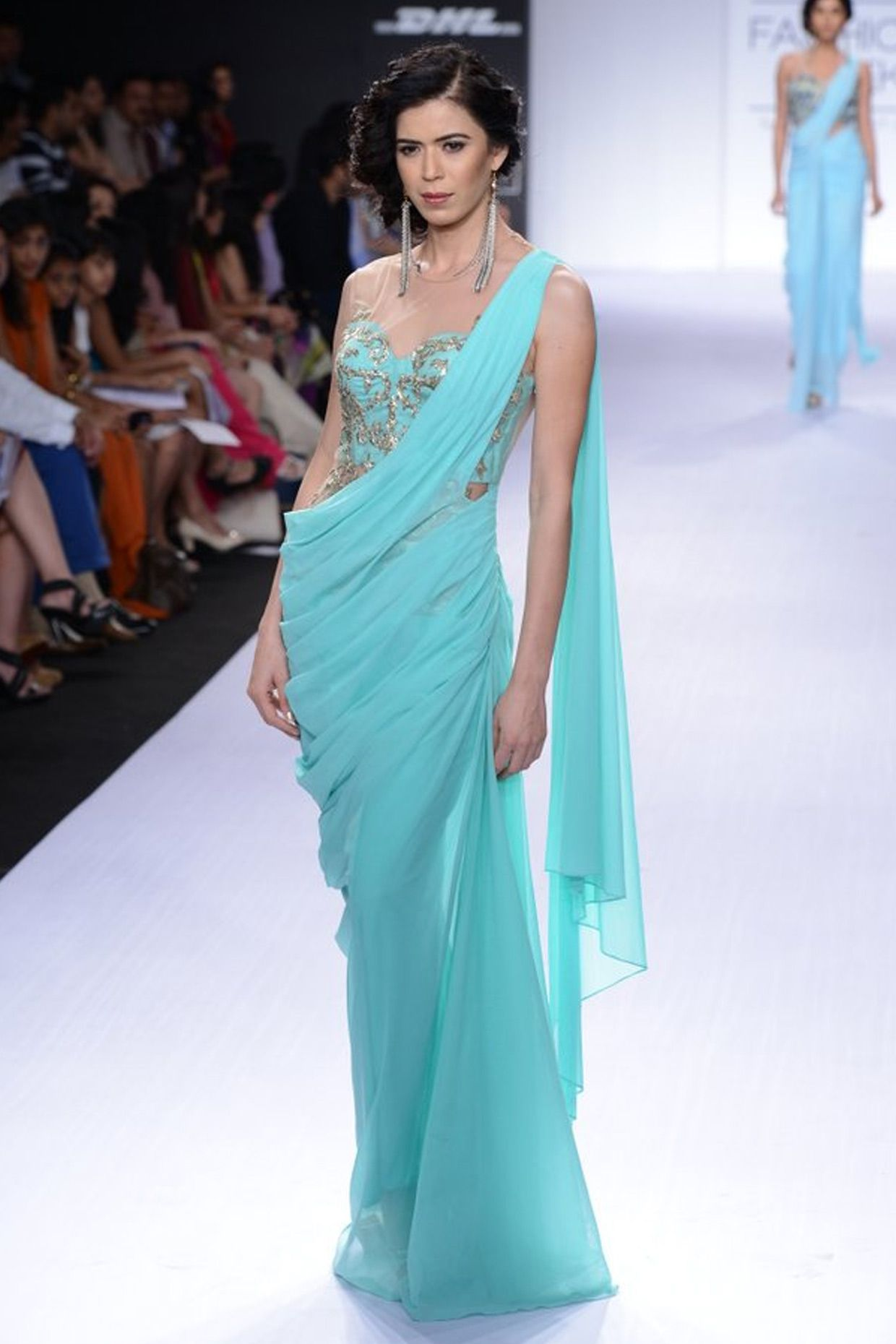 Turquoise embroidered sari-gown available only at Pernia\'s Pop-Up ...