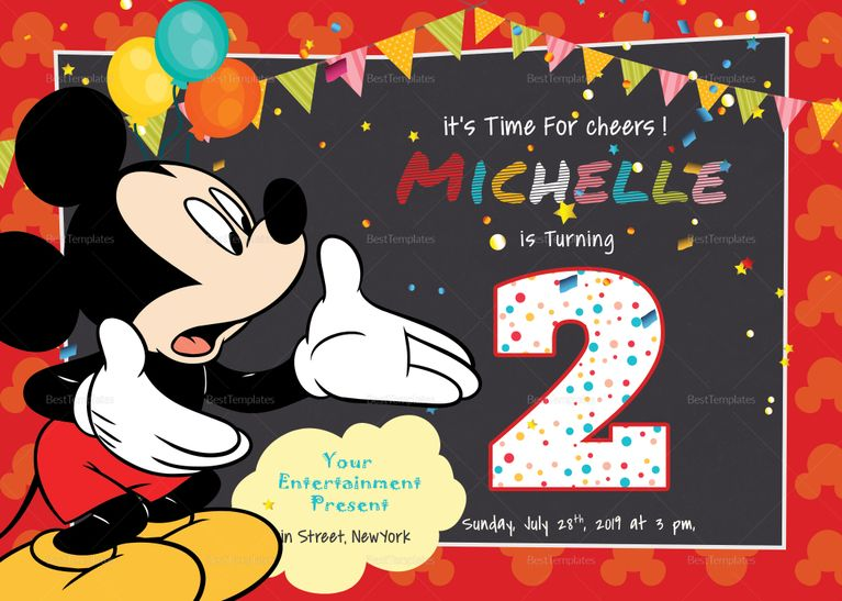 Great Mickey Mouse Birthday Invitation Card Template Invitation