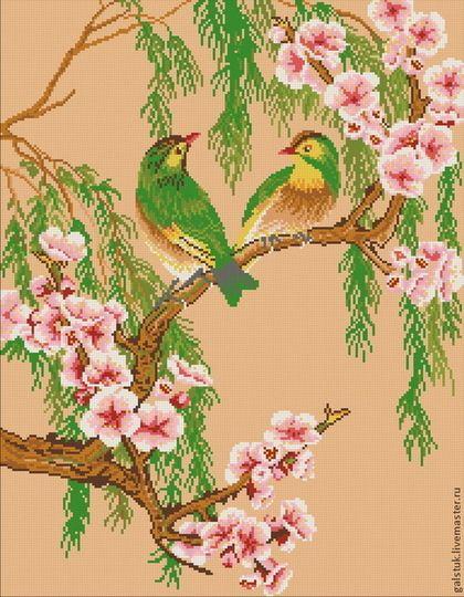 """Схема для вышивания бисером """"Любовь птиц"""" - схема вышивки бисером,вышивка птиц бисером"""