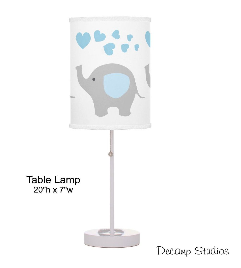 Baby Nursery Lamp Boy Blue Elephant