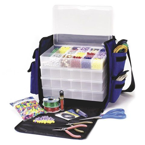 Jewelry Organizer Bag with 5 Plastic Storage Boxes Bead storage
