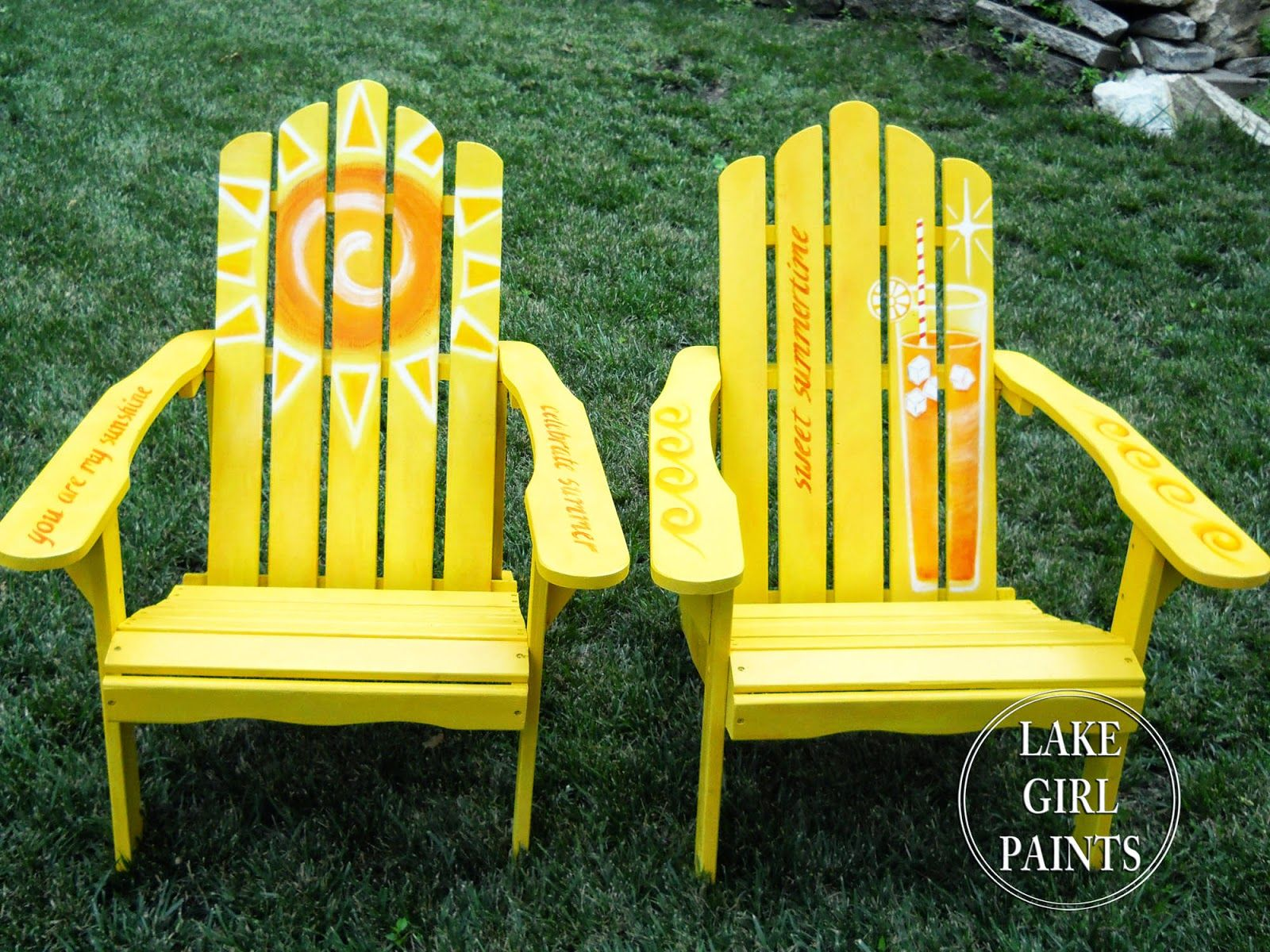 Lake Girl Paints Painting Sunny Adirondack Chairs outside