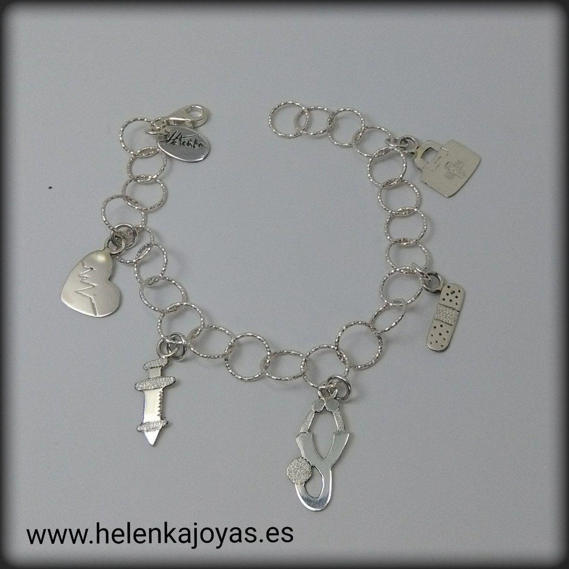 6c73800711ca Pulsera de plata de ley con abalorios personalizados enfermera  n  n24