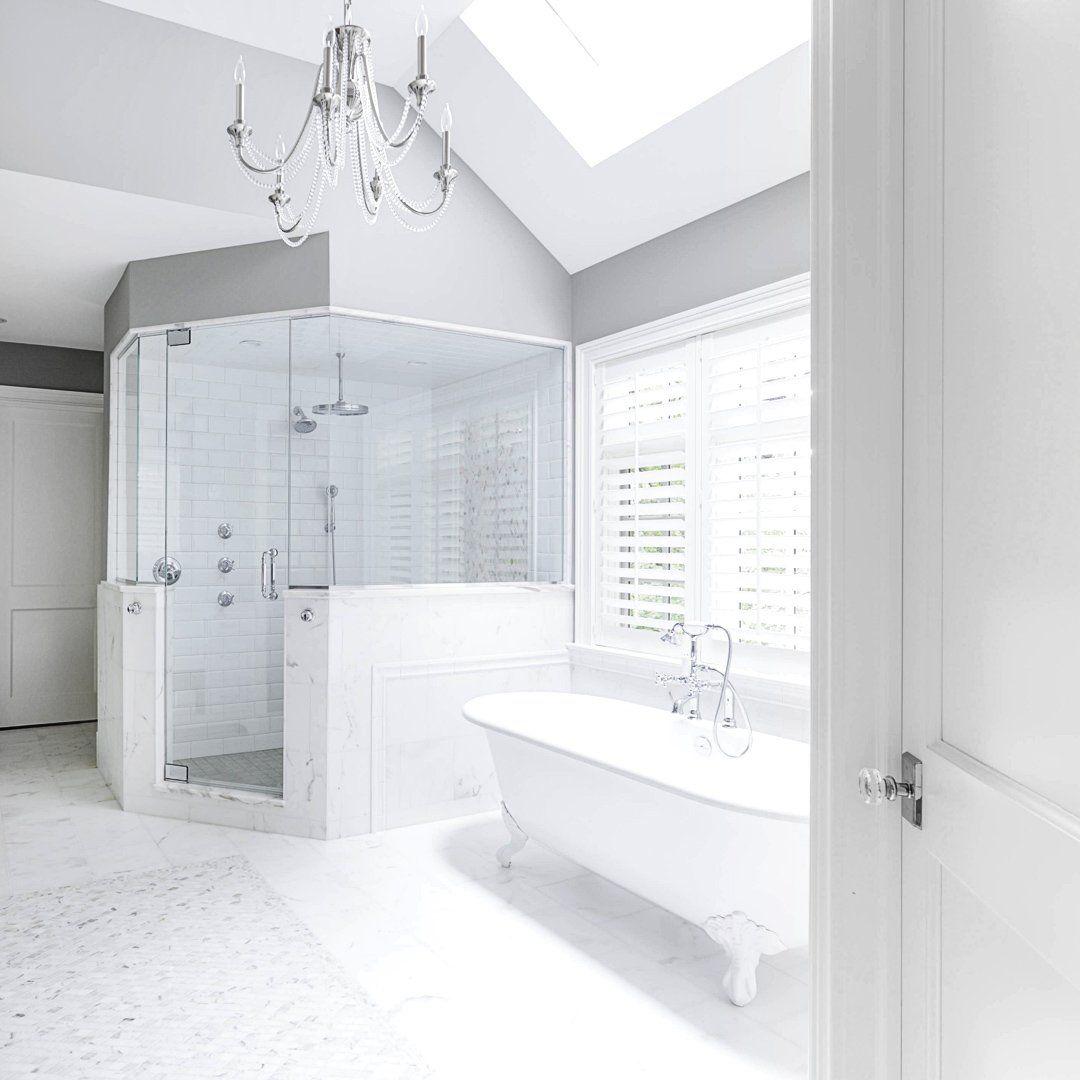 Bathroom Interior Design White Bright New Construction Master Bathroom Design Bathroom Interior Design Bathroom Remodel Master [ 1080 x 1080 Pixel ]