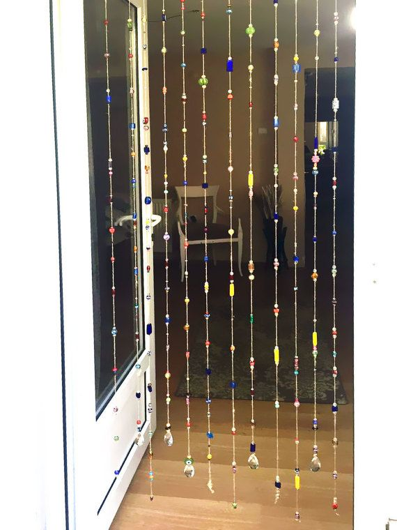 Colorful Glass Beaded Door Curtain And Sun Catcher, Glass Beaded Wind Chimeu2026